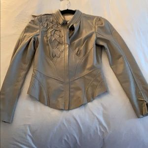Tracy Reese grey leather jacket